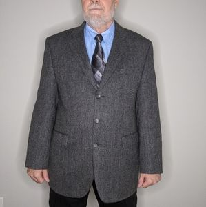 Izod Pure New Wool Blazer Grey 3 Button Classic